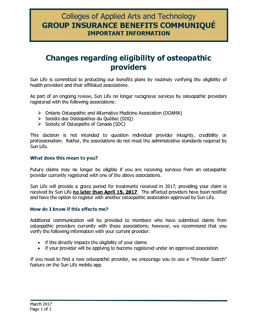 Changes regarding eligibility of osteopathic providers