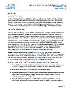 thumbnail of 2021-06-22-Faculty-Response-to-Humber-Tomorrow